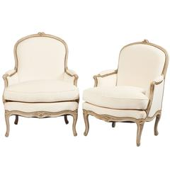 18th Century Pair of Louis XV Bergeres Chairs