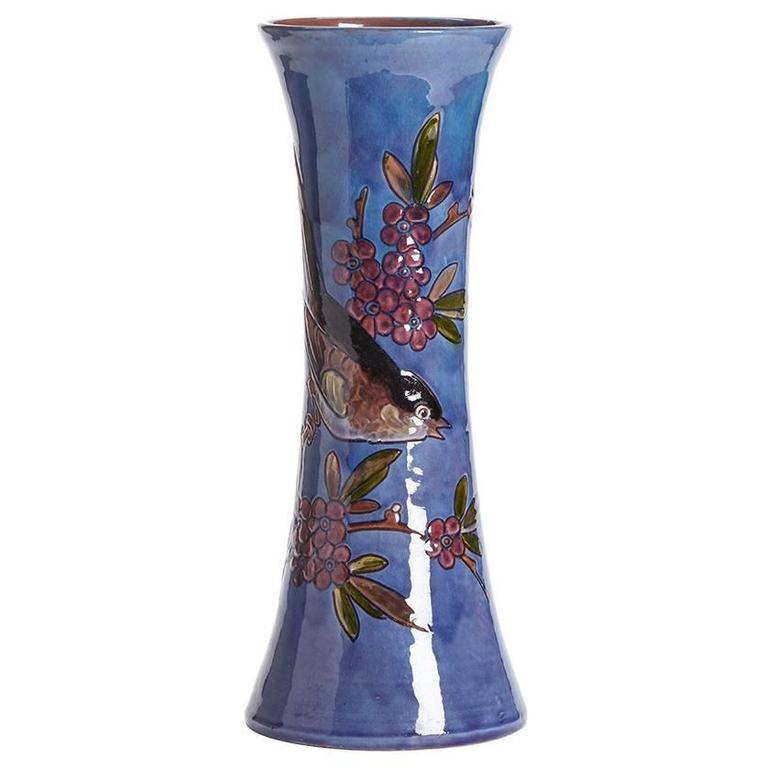 William Baron Blue Art Pottery Bird Trumpet Vase, circa 1900 For Sale