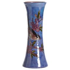 William Baron Blue Art Pottery Bird Trumpet Vase, circa 1900