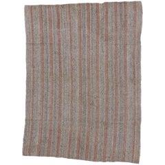Vintage Turkish Kilim with Rustic Industrial Style, Striped Kilim Rug