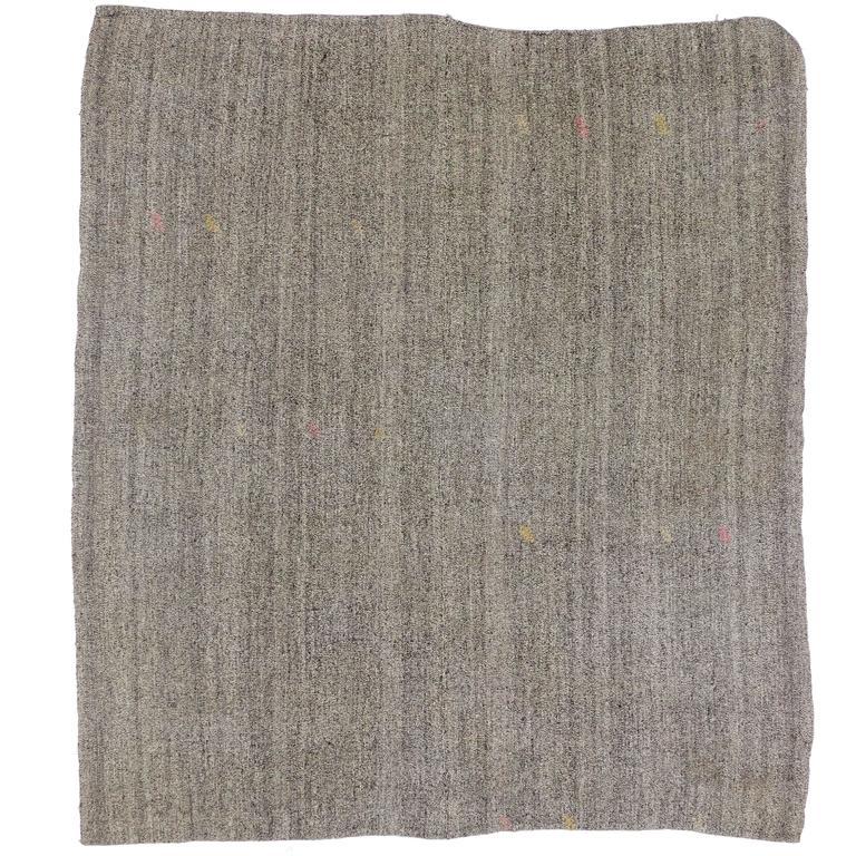 Vintage Turkish Kilim Rug with Minimalist Style, Flatweave Kilim Rug