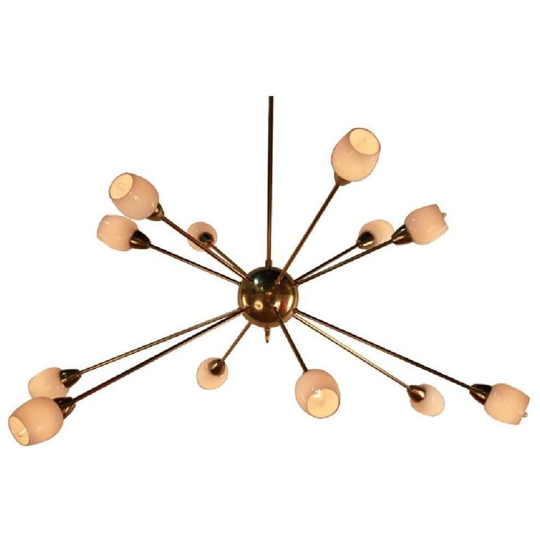 Gilt Bronze and Opaline Glass Twelve-Light 'Sputnik' Style Chandelier For Sale