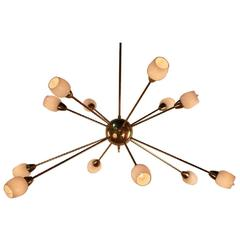Gilt Bronze and Opaline Glass Twelve-Light 'Sputnik' Style Chandelier