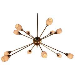 Gilt Bronze and Opaline Glass Twelve-Light 'Sputnik' Style Chandelier
