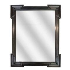 Newly Ebonized Mahogany Mirror with Distressed Glass