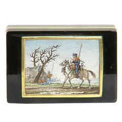 """Military Scene"" Tortoise Shell and Gold Snuff Box with Micromosaic 18th Century"