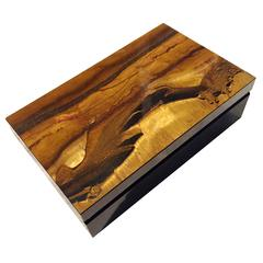 Natural Tiger Eye Box with Dolberite and Cedar