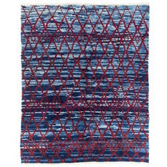 Contemporary Moroccan Wool Rug in Blue and Red Colors