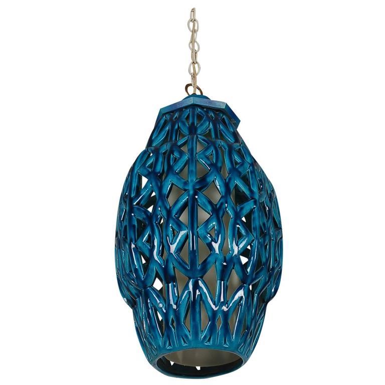 Italian mid century modern blue glazed pottery hanging for Mid century modern hanging lamp