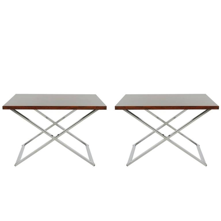 Mid-Century Modern Rosewood and Chrome Table Set Attributed to Milo Baughman