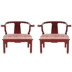 Pair of James Mont Style Asian Modern Chinoiserie Lounge Chairs by Century