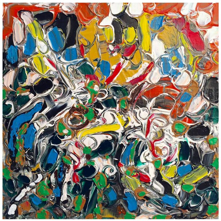 Abstract Acrylic on Canvas Painting titled Crowds at Longchamp