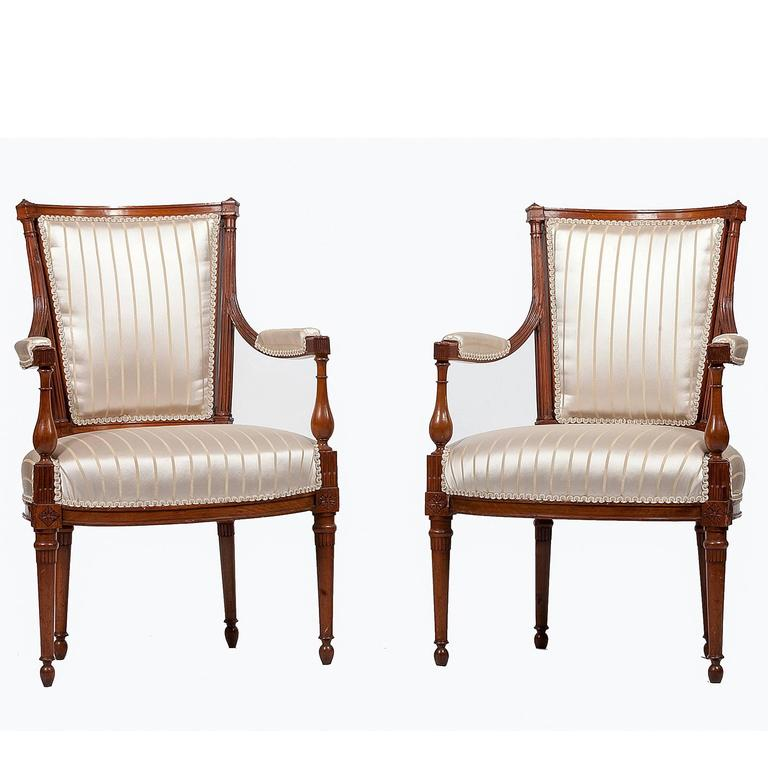 pair of french directoire fauteuil armchairs for sale at. Black Bedroom Furniture Sets. Home Design Ideas