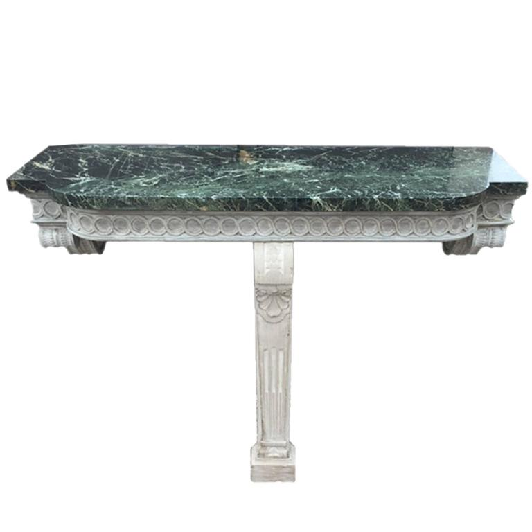 Pair of Wall-Mounted Console Tables with Marble Tops