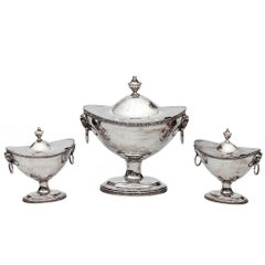 Set of Three English Silver Plate Sauce Tureens