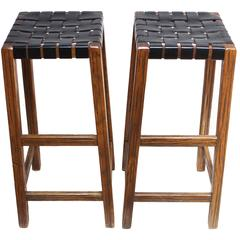 Pair of Stained Walnut Bar Stools with Original Leather Webbing