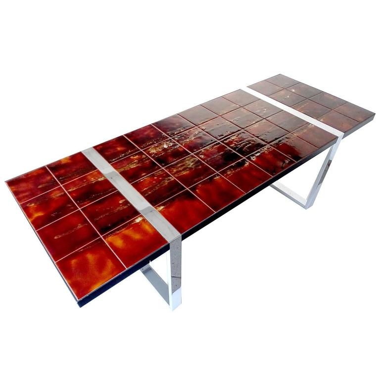 Large Mid Century Coffee Or Side Table Featuring Handmade Ceramic Tiles Supported By A Chrome