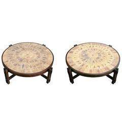Pair of Low Tables with Stoneware Tile Tops by Roger Capron