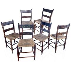 Set of Six Hand-Painted Rush Chairs