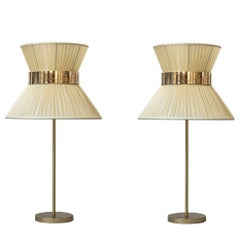 Tiffany contemporary table Lamp ivory Silk Antiqued Brass, Silvered Glass