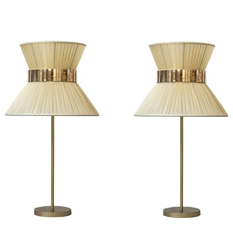 Tiffany contemporary table Lamp ivory Silk Antiqued Brass, Silvered Glass      For Sale