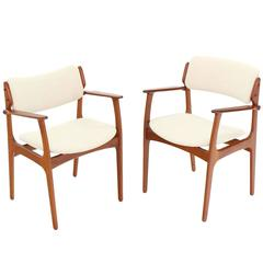 Pair of Two Danish Mid Century Modern Arm Dining Chairs