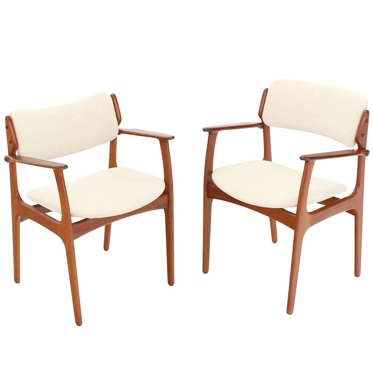 of two danish mid century modern arm dining chairs for sale at 1stdibs