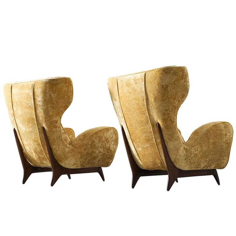 Pair of Italian Wingback Chairs For Sale at 1stdibs