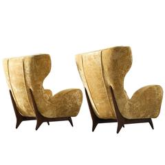 Pair of Large Italian Wingback Chairs