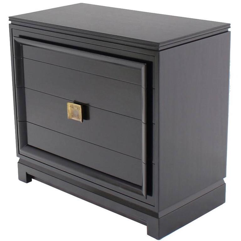 Black Lacquer Four Drawer Bachelor Chest For Sale