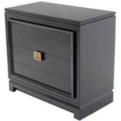Black Lacquer Four Drawer Bachelor Chest