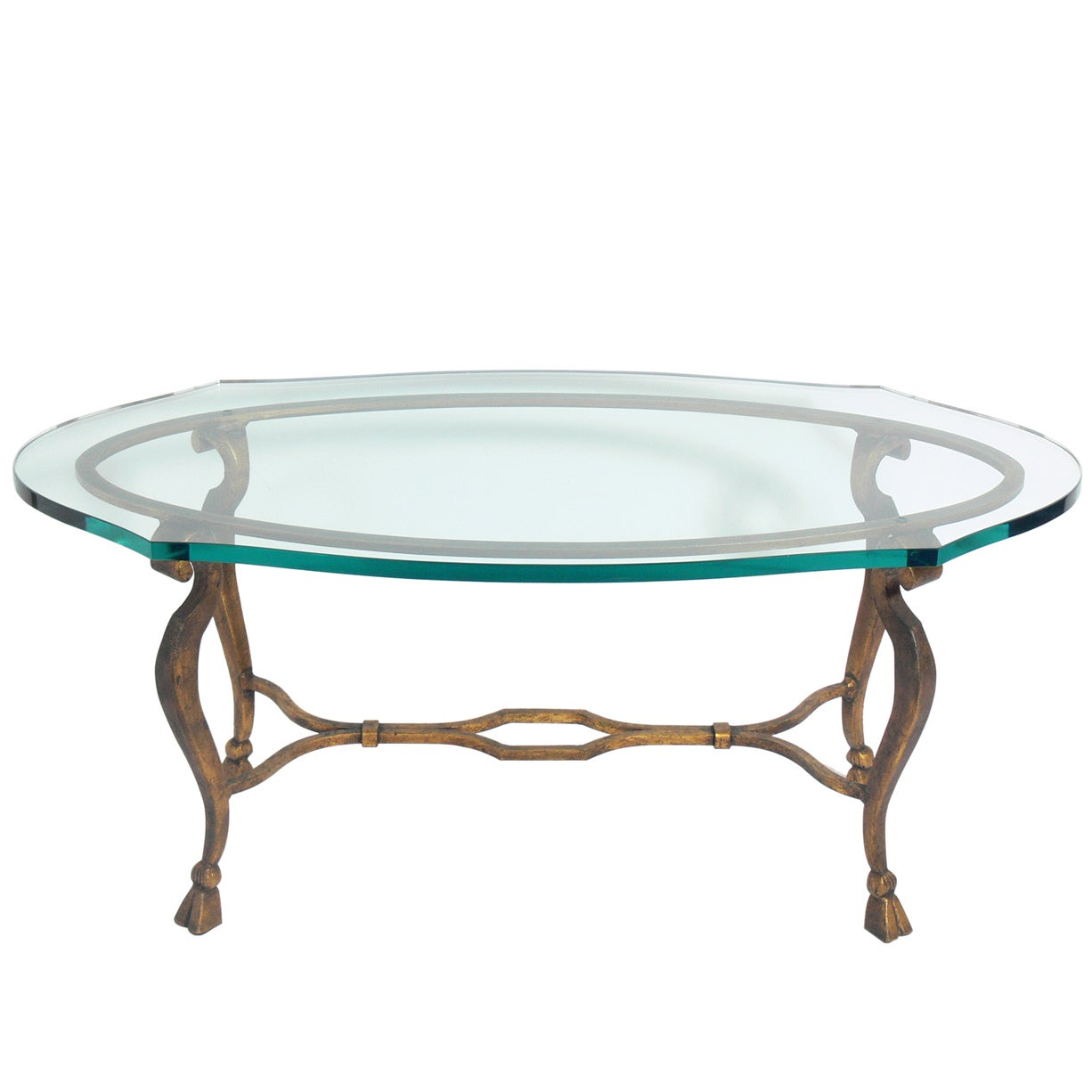 - Elegant Gilt Metal Oval Coffee Table Im Angebot Bei 1stdibs
