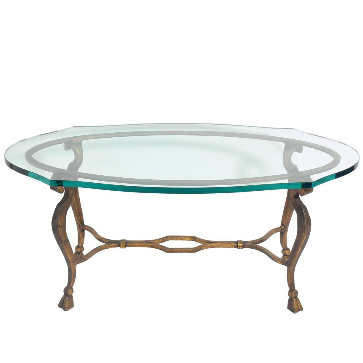 Elegant Gilt Metal Oval Coffee Table For Sale At 1stdibs