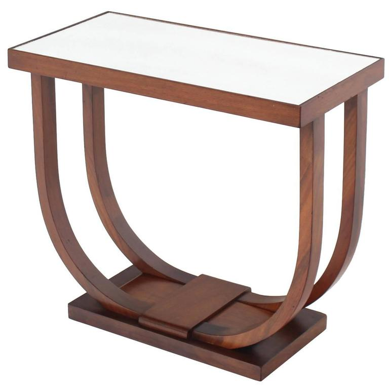 U-Shape Glass Mirrored Top Art Deco Side Table For Sale