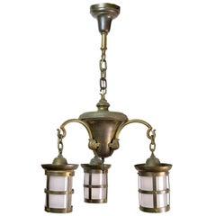 Brass Three-Arm Craftsman Chandelier with Lantern Style Shades
