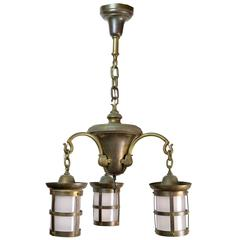 Brass Three-Arm Craftsman Chandelier with Lantern Style Shades