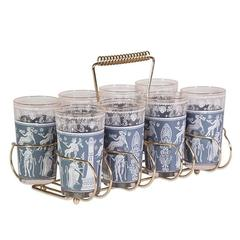 Blue and Gold Greek Cocktail Glasses