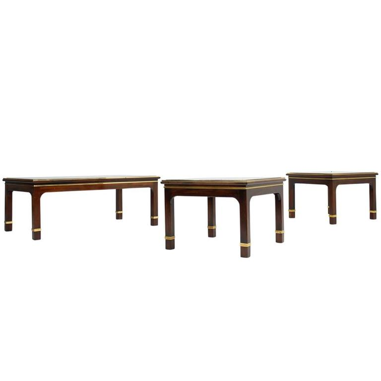 Beautiful set of three 1960s mahogany coffee and side for Side coffee table set