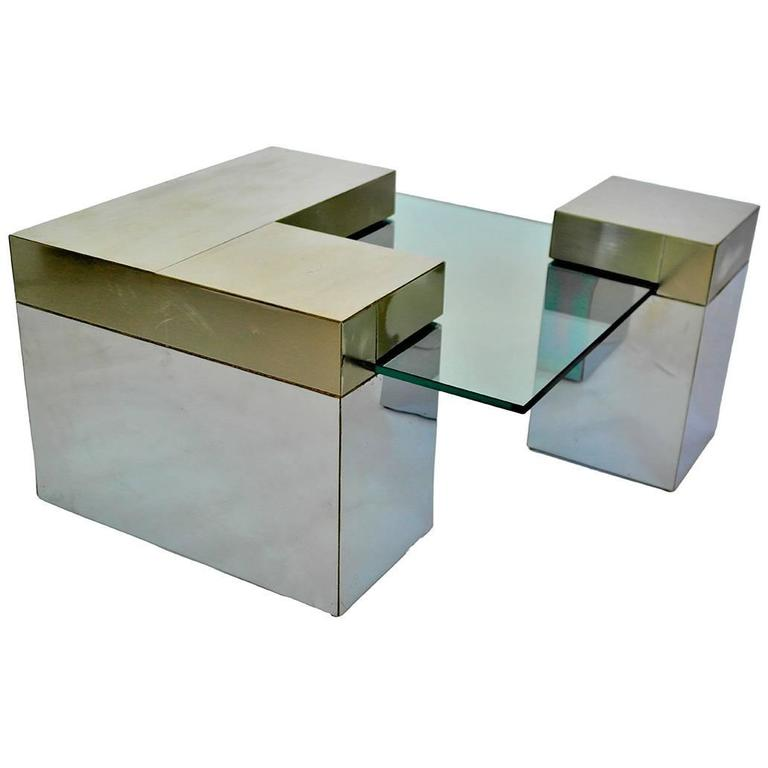 Charmant Cubist Mirrored Chrome Sectional Square Coffee Table Paul Evans Style For  Sale