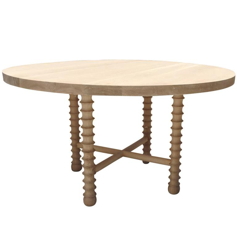 """Ojai"" Modern Round Dining or Center Table in White Oak by Haskell Studio"
