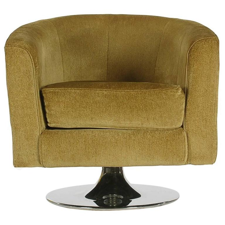 Barrel Back Swivel Chair After Milo Baughman Mid Century Modern At 1stdibs