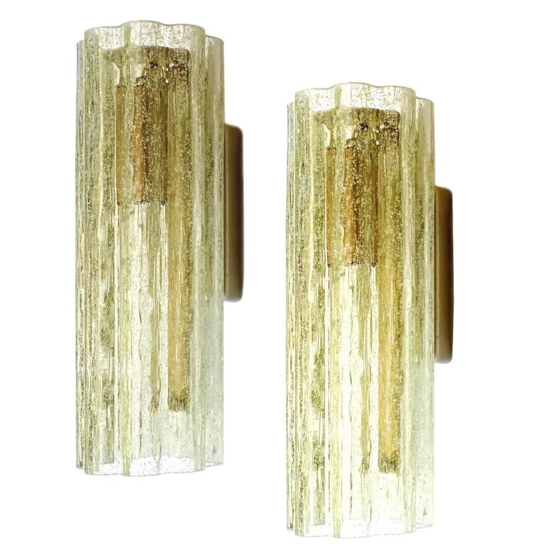 Italian Glass Wall Sconces : Pair of Italian Glass Sconces at 1stdibs