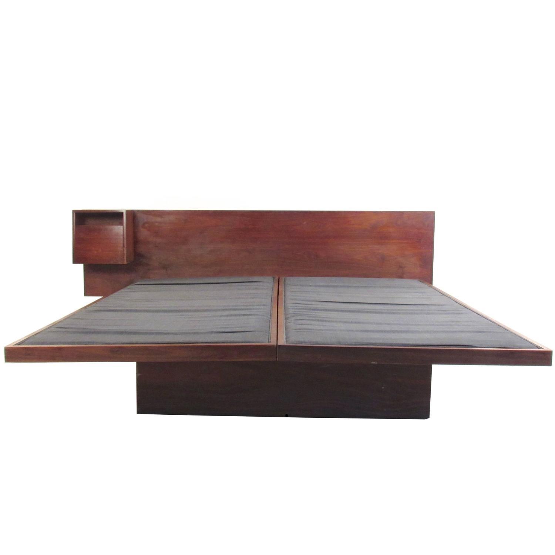 Jens Risom Vintage Teak King Size Platform Bed With End