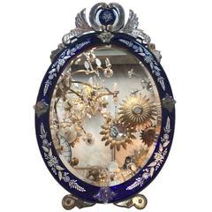 Cobalt Blue Oval Venetian Mirror