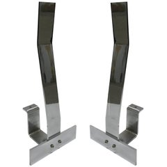 Pair of Minimalist Chrome Andirons in the Style of Albrizzi