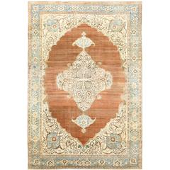 Large Cotton and Wool Antique Tabriz Persian Rug