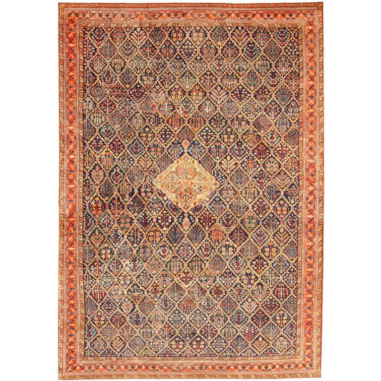 Antique Large Rug: Large 18th Century Rare Antique Kurdish Shrub Design Rug