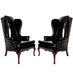Vintage Black Wing Chairs with Nailhead Trim