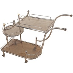 Mid-Century Steel Bar Cart with Smoked Glass Shelves