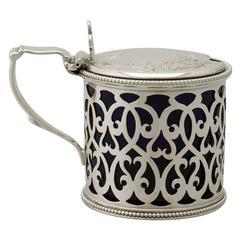 Sterling Silver Mustard Pot, Antique Victorian